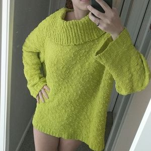 Light Green Chico's Fluffy Collared Sweater